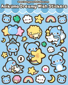 Aoikuma Dreamy Wish Stickers by *MoogleGurl on deviantART #Kawaii #Draw #Illustration