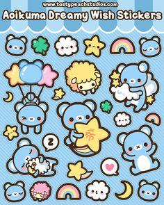 Aoikuma Dreamy Wish Stickers by *MoogleGurl on deviantART #Kawaii #Draw #Illustration