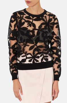 Topshop Floral Mesh Sweater on shopstyle.com
