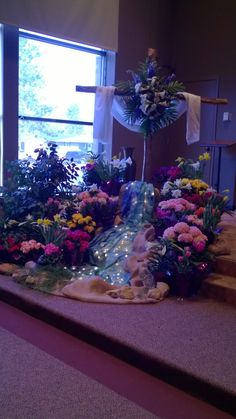 Easter flower arrangements church church flowers home - Exterior church crosses for sale ...