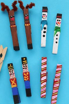 These painted clothespin Christmas ornaments are easy to make with just wooden clothespins and paint. They clip right to your Christmas tree, an evergreen garland or a string of Christmas lights. Make our reindeer, snowmen, candy canes and nutcrackers, or use your imagination to come up some creative ideas of your own. #HappyHooligans #HomemadeOrnament #Christmas #Craft #Kids #Art #Clothespin #Snowman #Reindeer #CandyCane #NutCracker Crafts #Tweens #Teens Simple Christmas, Easy Christmas Crafts, Christmas Tree Ornaments, Christmas Lights, Popsicle Stick Crafts For Kids, Popsicle Sticks, Craft Stick Crafts, Nutcracker Crafts, Nutcracker Ornaments