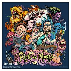 "Rick and Morty T-shirt Illustration Medium 11""x11"""