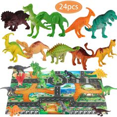 Dinosaur Toys and Play Mat Dinosaur Figurines Set Jurassic Park Toys for Birthday School Playtime Kids Boys Girls Tyrannosaurus Rex, Stealing Egg Dragon, Raptor, Triceratops ,etc -- Want additional info? Click on the image. (This is an affiliate link)