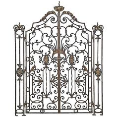 View this item and discover similar doors and gates for sale at - A rare French Louis XV style wrought iron gate and its side grilles dated Century. # Dimensions : - Side grilles : Height - 67 in. Wrought Iron Garden Gates, Modern Door, Iron Art, Metal Artwork, Iron Doors, Gate Design, Architectural Elements, Architecture, Antiques