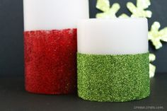 Christmas DIY Glitter Candles Shane and I did this last year. So much fun | pinned by Western Sage and KB Honey (aka Kidd Bros)