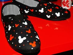 Hand Painted Mickey Mouse Canvas Shoes- Size 8 on Etsy, $35.00