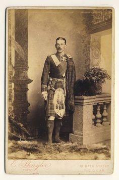 Scottish Highlanders Officer, Wearing Medals,