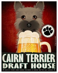 Cairn Terrier Drinking Dogs Original Art by DogsIncorporated, $29.00