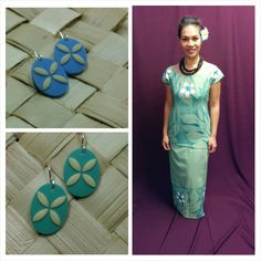 Hand-printed Samoan Puletasi matched with tapa design-inspire earrings. Available from langis.co.nz.