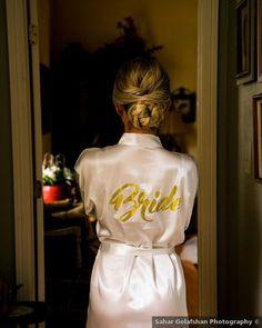 Cream bridal robe with gold 'Bride' cursive writing