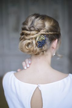 Bridal hairstyle braids up-do with blue berries at Schloss Laudon Vienna Austria by Barbara Wenz Photography Blue Silver Weddings, Blue And Silver, Boho, Braided Hairstyles, Blues, Hair Makeup, Braids, Wedding Inspiration, Bridal Hairstyle