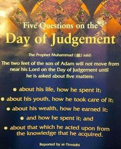 5 Questions on Day Of Judgement Muslim / Islam / religion / guidance / truth Islam Hadith, Allah Islam, Islam Muslim, Islam Quran, Alhamdulillah, Islamic Inspirational Quotes, Islamic Quotes, Religious Quotes, Islamic Websites
