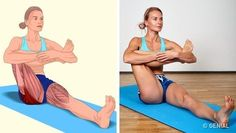 18 Illustrations qui montrent clairement quels muscles tu es en train d'étirer Muscle Stretches, Stretching Exercises, Wellness Fitness, Yoga Fitness, Sport Treiben, Back Muscles, Yoga Muscles, Excercise, Glutes