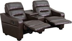 Futura Series 2-Seat Reclining Brown Leather Theater Seating Unit with Cup Holders. Complete your theater room with this comfortable theater style seating. Reclining furniture offers the best in relaxation for you to kick up your feet to watch TV, work on a laptop, or to just hang out with family and friends. This theater set features a plush back, a cup holder wedge with a deep storage compartment and naturally slanted armrests. The curved setup will add an appealing look to your room. You…