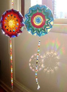 plastic disks recycling ideas for handmade home decorations