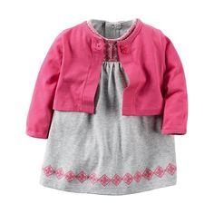 Baby Girl Carter's Embroidered Bodysuit Dress & Cardigan Set, Size: 24 Months, Light Grey