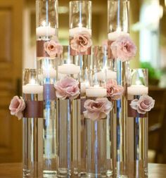 submerged rose silk petals centerpieces | Look in your pantry for inspiration! These centerpieces feature dried ...
