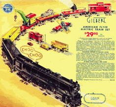 Vintage Gilbert Electric Train Set  Price: $29.95 + $5.98 for 150 Watt Transformer  Description 3/16 inch scale model Gilbert American Flyer Electric AC Train Set, the train and all the carriages are over 5ft long. Gilbert Company was an American toy company was best known for Erector Construction sets.