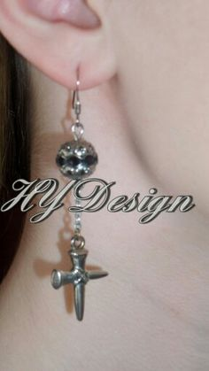 Earrings.  Silver & Black. Steampunk,  Faith,  Cross, Edgy, trendy. Fashion, country. Handmade jewelry. #HYD