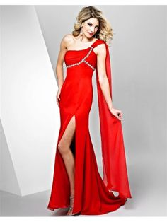 Sheath One Shoulder Long Chiffon Pageant / Prom / Evening / Formal Dresses 2901021