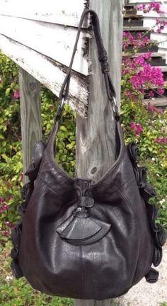 Vince Camuto Soft Black Lambskin Lge Ruffle Hobo Everyday Shoulder Bag!