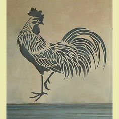 Rooster Stencil My kitchen is roosters and I love this stencil!!!!