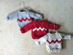 Mini Christmas Sweater Ornament Hand Knit by Amazingknits on Etsy, $13.00