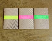 Set Of Three Silver Geometric Metallic Patterned Foil Diaries / Notebooks /Travel Journals