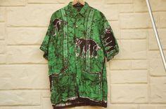 Vintage 80s-90s Men's Handprinted Batik by SycamoreVintage on Etsy