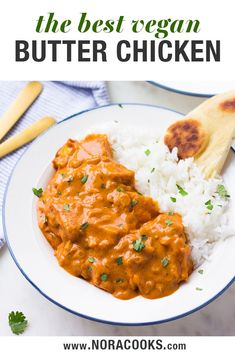 This Vegan Butter Chicken is everything you want in a quick and easy weeknight dinner! Quick (just thirty minutes) and healthy, I have an easy method of preparing the tofu that makes it taste so much like chicken, and the dairy free creamy sauce is to die Vegan Indian Recipes, Vegan Dinner Recipes, Tofu Recipes, Vegan Dinners, Vegetarian Recipes, Cooking Recipes, Healthy Recipes, Vegan Indian Food, Dinner Healthy