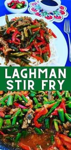 Laghman is a delicious Central Asian classic, hand pulled noodles with a soupy vegetable beef Stir Fry, served with Chinese Black Vinegar. Soup Recipes, Dinner Recipes, Healthy Recipes, Sweets Recipes, Healthy Foods, Salad Recipes, Dinner Ideas, Recipe For Mom, Kitchens