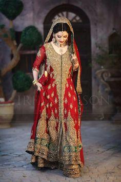 Pakistani bridal wear . Red dress , long dress. Pakistani lehnga red and gold .