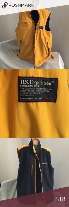Men's Reversible Vest Sz L Yellow side has two zipper pockets and one chest Velcro pocket and the hem has draw strings. The fleece side has two open hand pockets and an open chest pocket. Very nice boat vest. U.S.Expidition Jackets & Coats Vests