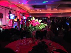 Choice One Lighting & Entertainment. Pin Spots. Red Uplights. #choice1ent #weddings #pinspots