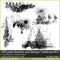 ARTpacks Brushes and Stamps: Christmas No. 01- Katie Pertiet Brushes- DS847067- DesignerDigitals