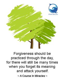 """Forgiveness should be practiced through the day, and there will still be many times when you forget its meaning and attack yourself."" ~ A Course In Miracles Love And Forgiveness, Forgiveness Quotes, Miracle Quotes, Deeper Life, Peace Of God, Marianne Williamson, A Course In Miracles, Inspirational Quotes Pictures, Spiritual Path"