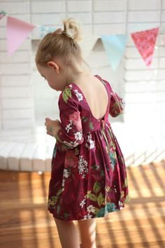 Items similar to The Winnie Dress - long sleeved dress - fall dress - girls dress - girls winter dress - sleeved dress - burgandy maroon - toddler dress fall on Etsy Kids Dress Wear, Little Girl Dresses, Girls Dresses, Girls Fashion Clothes, Kids Fashion, Cotton Frocks For Kids, Baby Dress Design, Baby Dress Patterns, Baby Kids Clothes