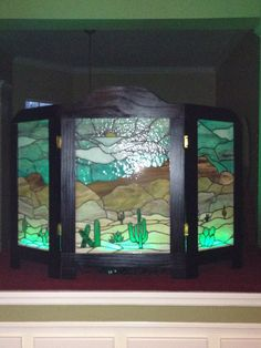 Stained glass fire place decorative screen