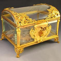 Antique French Cut Crystal Gilt Bronze Ormolu Jewelry Casket , Box, from theantiqueboutique on Ruby Lane