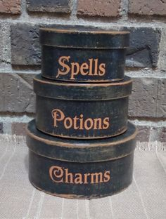 Items similar to Primitive Round Paper Mache' Halloween Boxes Spells Potions Charms on Etsy Looks Halloween, Holidays Halloween, Fall Halloween, Happy Halloween, Halloween Decorations, Halloween Party, Box Decorations, Halloween Spells, Primitive Decorations