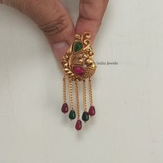 South Indian Jewellery, Peacock Design, India Jewelry, Ear Studs, Gold Chains, Jewelry Collection, Jewels, Pure Products, Earrings