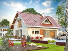 DOM T1-13 -Jednorodzinny budynek mieszkalny, parterowy z użytkowym poddaszem, przeznaczony dla 4 - 5-osobowej rodziny.