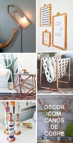 - Decor Chic Descolada com Canos de Cobre! Room Decor Bedroom, Diy Room Decor, Home Decor, Diy Decoration, Decor Ideas, Diy Ideas, Ideias Diy, Trendy Home, Handmade Home