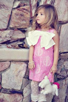 Spring Pastel Pink Dress with French Hatbox Design. $42.00, via Etsy. Adorable little girl outfits.