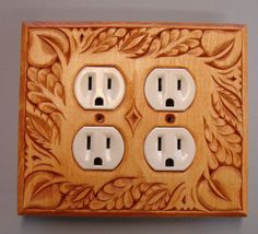 Golden Oak finished solid wood electric outlet by creativemind44, $32.00