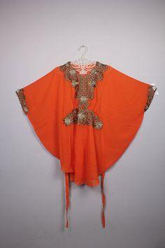 Cute Moroccan Batwing orange Chiffon Kaftan Embroidery Tunic Dress Blouse #Handmade #TunicDressBlouse #ChristmasEIDpartywedding