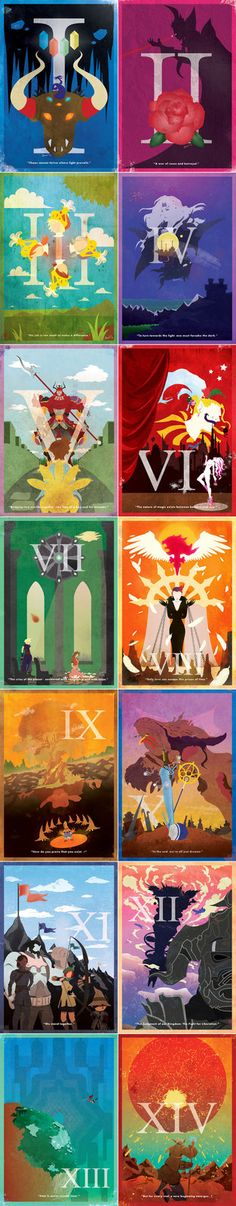 Vintage Final Fantasy Posters - I would have used one of the non-sensical side quests as the theme for each, but what do I know?