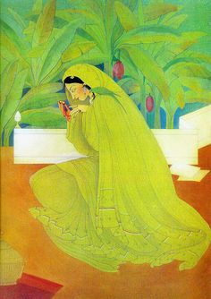Abdur Rahman Chughtai was a painter and intellectual from Pakistan, who created his own unique, distinctive painting style influenced by Mughal art, miniature painting, Art Nouveau and. Mughal Paintings, Indian Art Paintings, Abstract Paintings, Oil Paintings, Indian Folk Art, Indian Artist, Indian Illustration, Watercolor Illustration, Gallery Of Modern Art