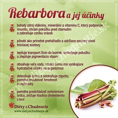 Rebarbora a jej účinky na chudnutie a zdravie človeka Raw Food Recipes, Diet Recipes, Healthy Tips, Healthy Recipes, Dieta Detox, Home Bakery, Wellness, Perfect Body, Natural Health