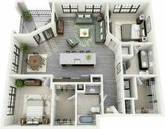 apartment floor plans Super ideas for apartment plants architecture beds Sims 4 House Plans, House Layout Plans, House Layouts, House Floor Plans, Apartment Plants, Apartment Layout, Apartment Bedrooms, Sims 4 House Design, Small House Design